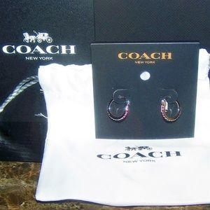 Coach Rainbow Multicolor Paved Huggie Earrings